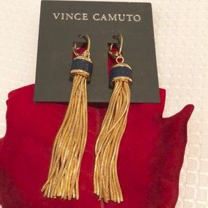 💕VINCE CAMUTO Leather-Inlay Chain Tassel Earrings